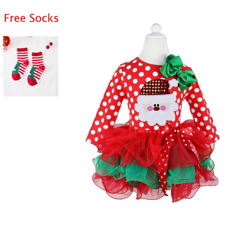 ce3885faf4b2 2019 Infant Baby Cotton Long Sleeve Dresses Toddler Girls Tutu Gown  Clothing Kids Christmas Dress With Free A Pair Of Christmas Socks From  Entent, ...