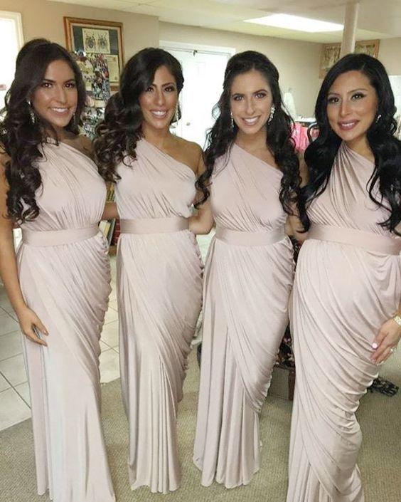 Elegant Custom Long Sheath One Shoulder Bridesmaid Dresses Floor