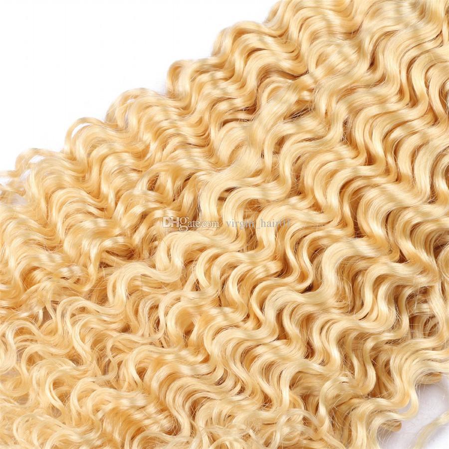 Blondes tiefes Wellen-Menschenhaar bündelt 8A 613 malaysisches Jungfrau-unverarbeitetes Haar / tiefe Welle gelocktes blondes Haar-Einschlagfaden