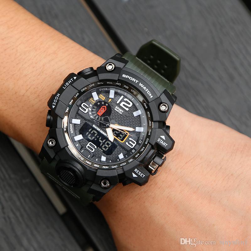 Dual-display-uhren Heißer Verkauf Uhren Männer Led Digital Armbanduhr Multifuntional Outdoor Sport Uhr Dual-display Mode Männlichen Uhren Reloj Hombre C4 Herrenuhren