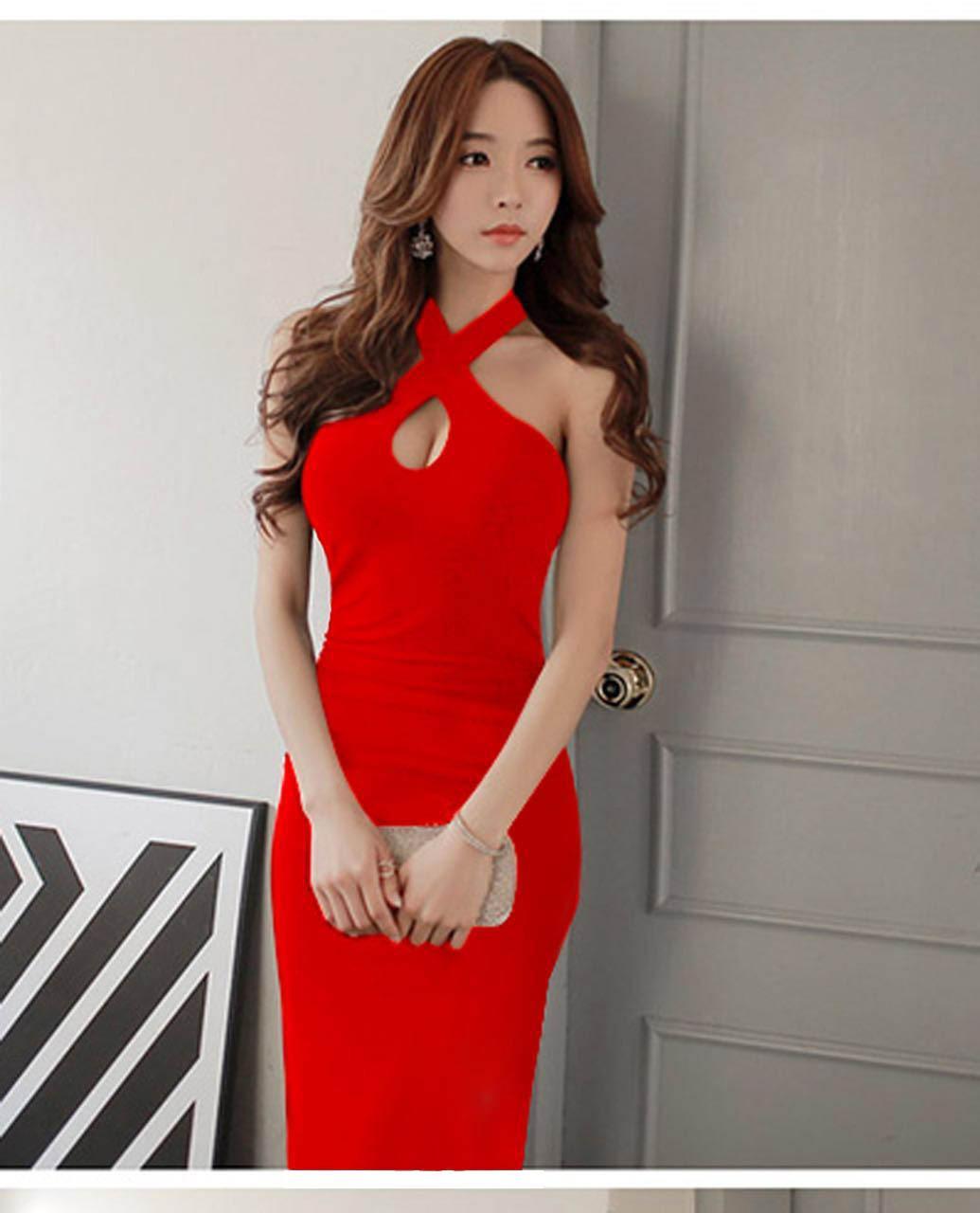 3874700a66699 2019 Summer New Sexy Halter Sleeveless Breasted Dress Splitting Skirt Long  Dress for Banquet Evening Dinner Party Wear A0058
