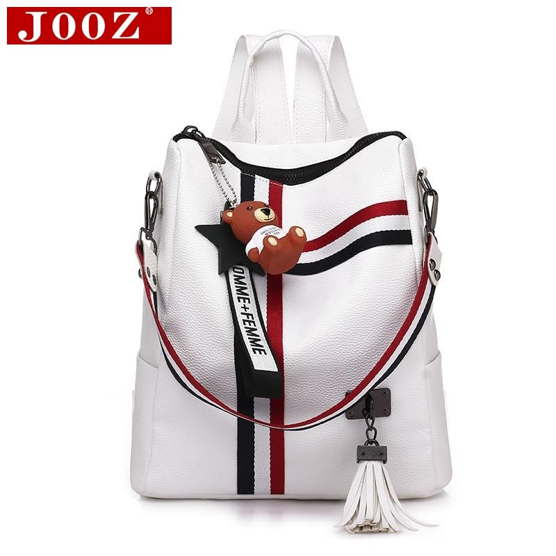 79fe3cf91a Backpacks Fashion Tassel Women Leather Backpacks Striped Shoulder Strap  Student School Backpack Youth Book Bag Mochila Feminina College Backpacks  Girl ...