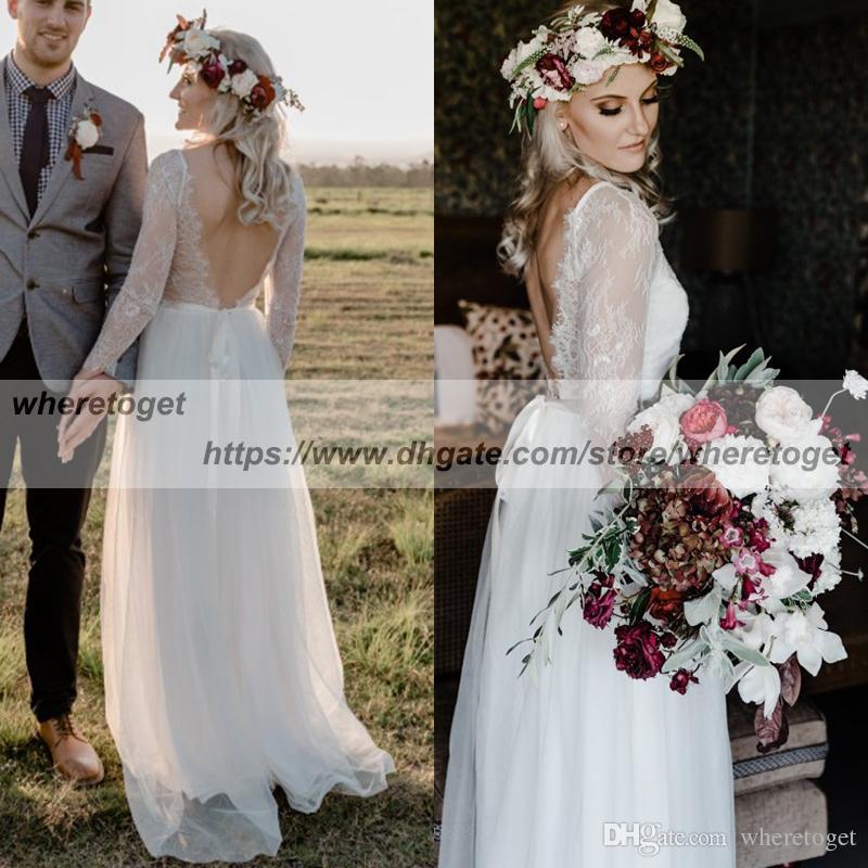 a75836f470 Discount Stunning 2018 Beach Bohemian Wedding Dresses Sheer Long Sleeve  Lace Backless Summer Chiffon Wedding Gowns Bridal Dress Long Sleeve Wedding  Dress ...