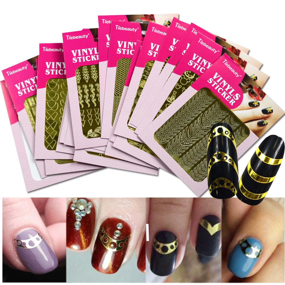 1Sheet Laser Irregular Hollow Nail Art Template Stencil 3D Sticker Vinyls Image Polish Design Guide Manicure Tool BENF413 436G How To Use Stickers Diy