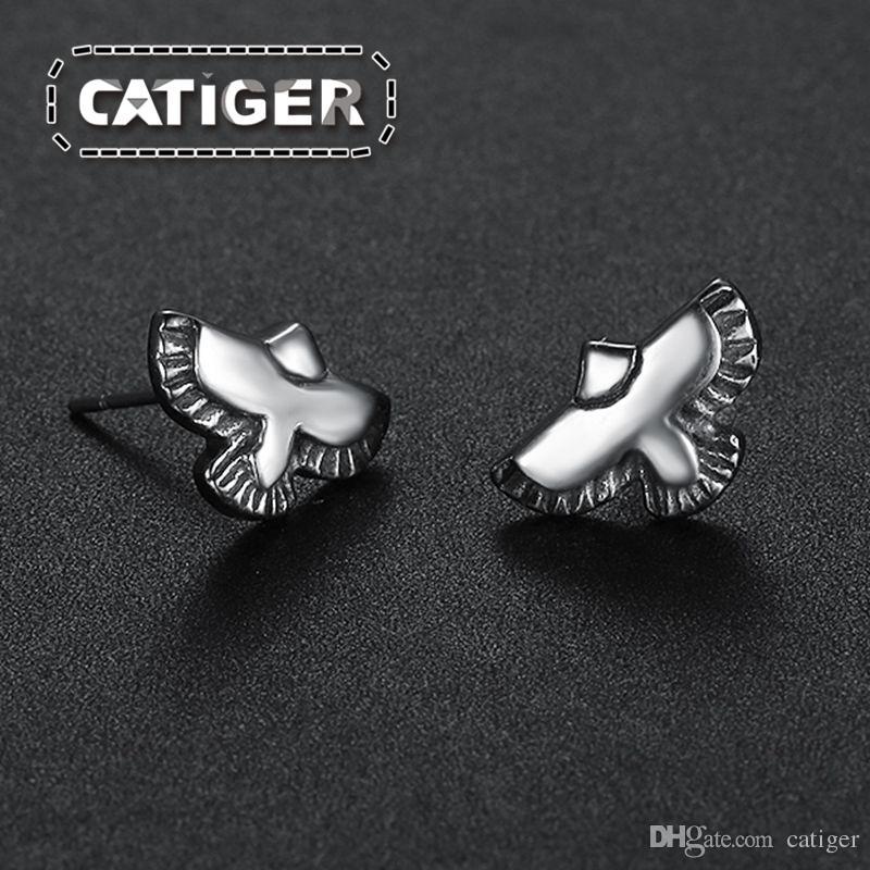 ! Punk Eagle Stud Earrings 316L Stainless Steel Flying Hawk Feather Bird Animal Stud Earrings
