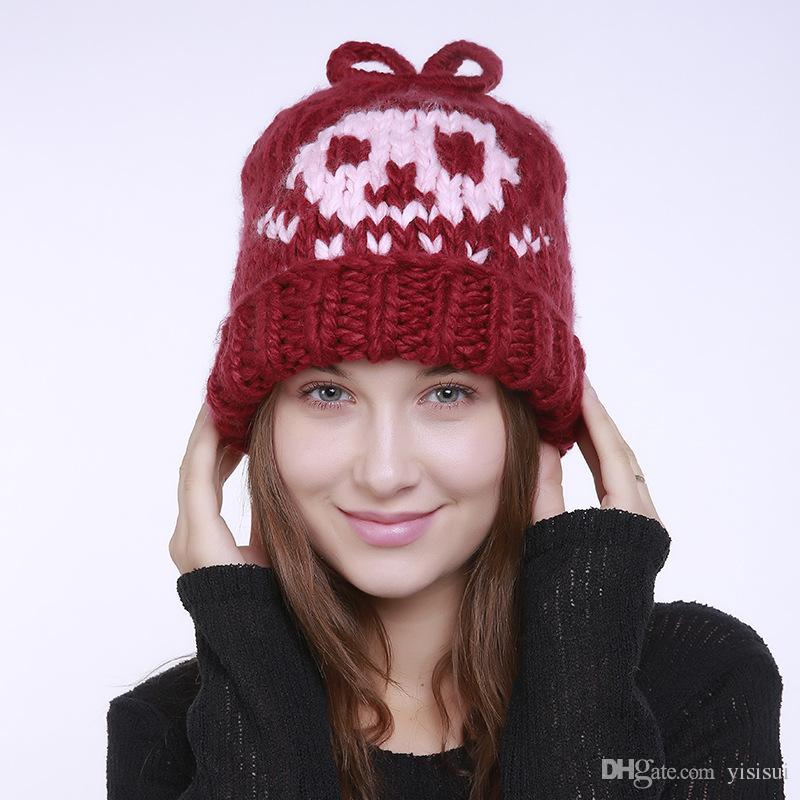 d36c2f6f271 Cheap Personality Female Autumn Winter Handmade Knit Hat Cute Rabbit  Pattern Women Knit Skullies Cap Thick Outdoor Warm Hat For Girls