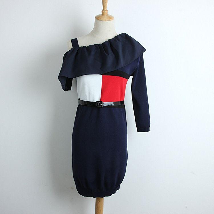 2018 Summer New Pattern Knitting Belt Dress Wryshoulder Spelling