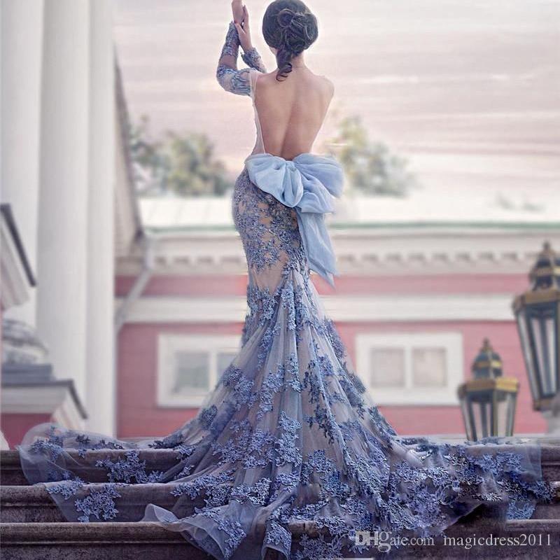 Muhteşem robe de soiree Seksi Uzun Kollu Ile Backless Mermaid Gelinlik Modelleri Dantel Aplike Yay Afrika Örgün Akşam Giyim Mahkemesi Tren