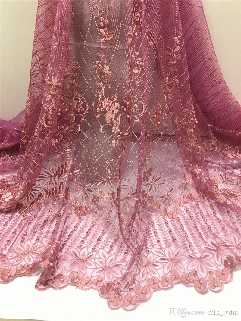 Nigerian Lace Fabrics For Wedding 2018 African Lace Fabric With Stone High Quality Gold Embroidery French Lace