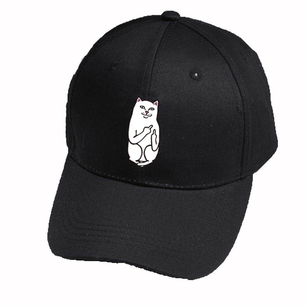 fb37ea7265d Middle Finger Cat Embroidery Baseball Hat Adjustable Unisex Fashion Casual  Hats Hip Hop Cotton Snapback Trucker Caps 3 Colour Caps For Men Custom  Baseball ...