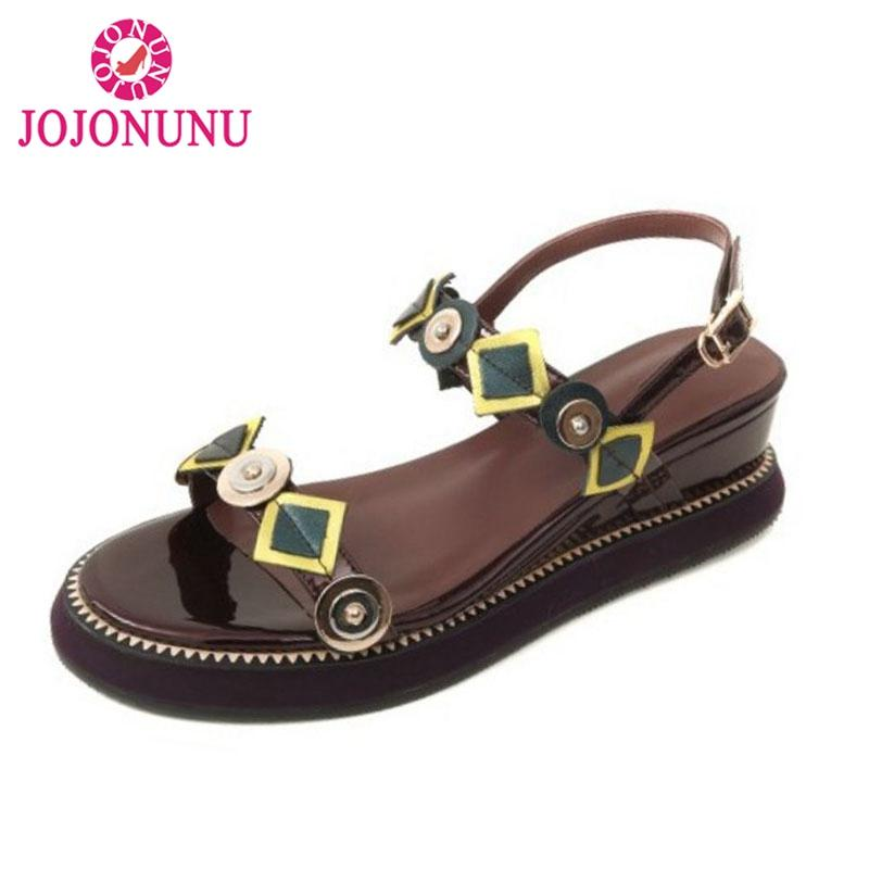 c4b62eb8ca2e Wholesale Women Sandals Wedges Buckle Open Toe Genuine Leather Ladies Shoes  Geometric Fashion Vacation Daily Footwear Size 33 40 Tan Wedges Fringe  Sandals ...