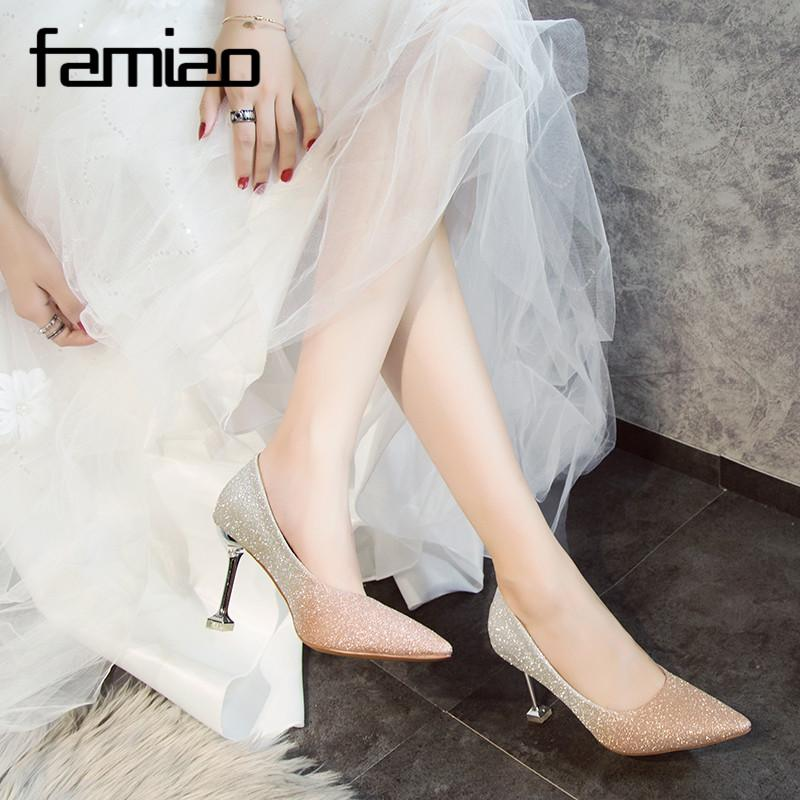 Silver Gray Women Bridal Wedding Shoes Bling Faux Silk Satin Rhinestone  Crystal Shallow Woman Pumps Stiletto High Heel Online with  53.14 Piece on  ... a99c929812a8