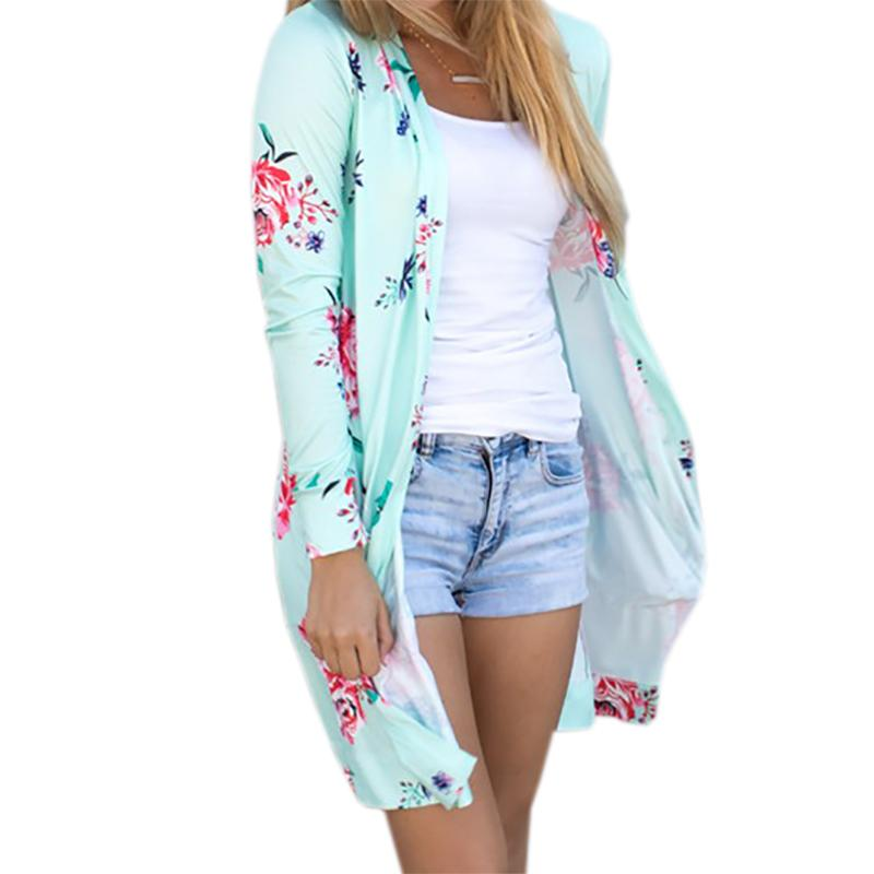 e52c0c5f10db1a Summer Coat Woman Kimono Jacket Casual Floral Cardigans Jackets Long Sleeve  Loose Coat Tops Tee Tunic Mujer Femme 2017 WS1105UY1882402 Lightweight  Jacket ...