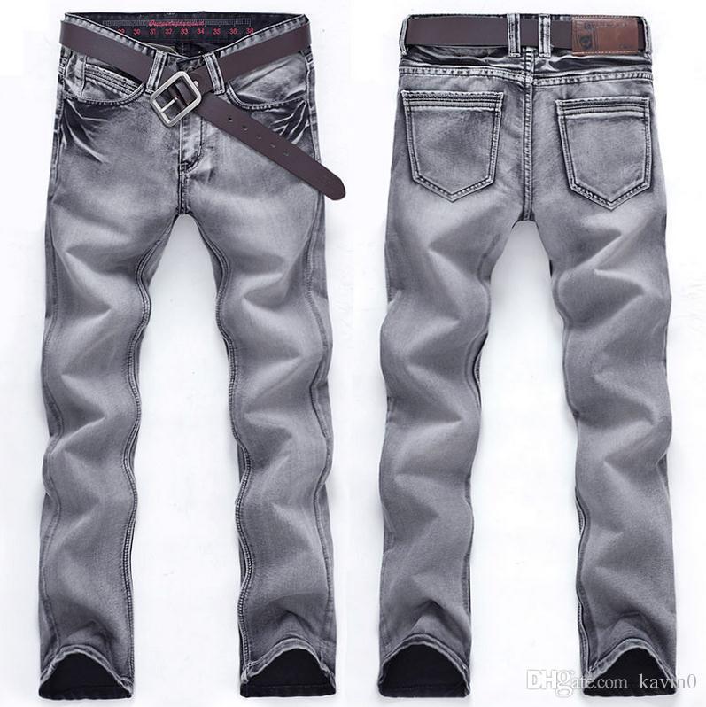 Acheter Été 2018 Mode Homme Jeans Stretch Loisirs Hommes Hommes Pantalon En  Denim Slim Fit Vintage Gris Couleur Salopette Cargo Droite Pantalon 28 38  De ... c0cf577df384