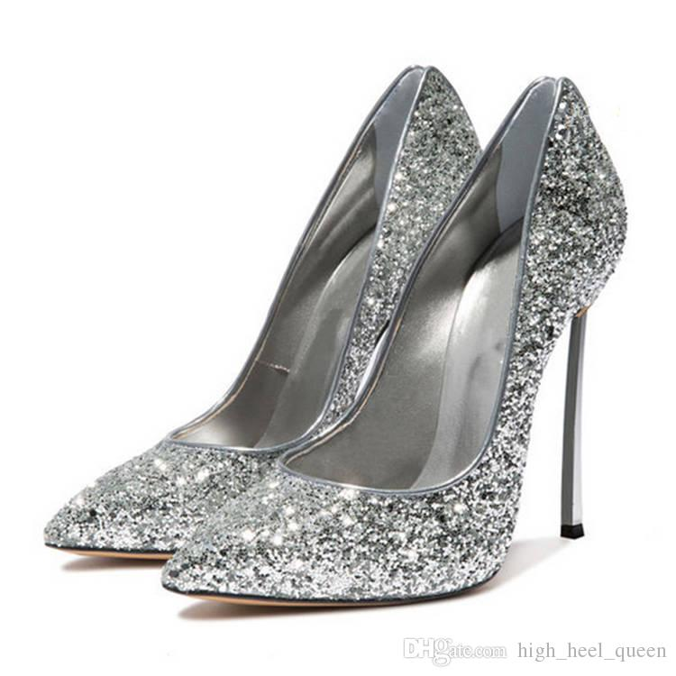 Luxury Glitter Sequined Cloth Woman Dress Shoes 12cm Thin Steel High ... b0983d3ff1d7