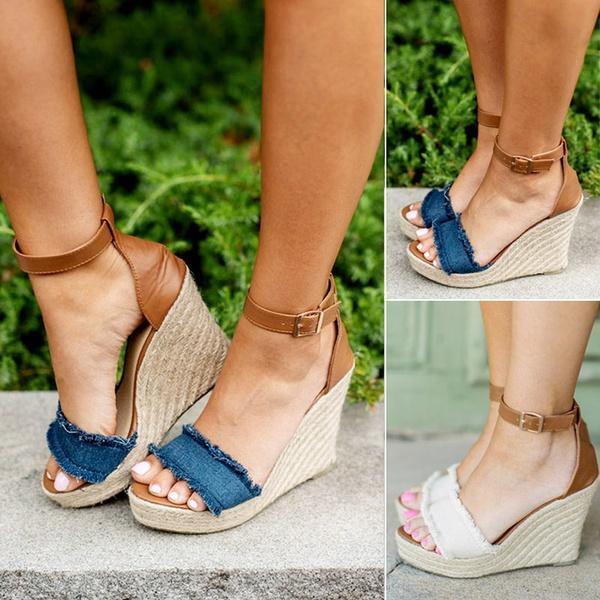 8aad1d7c20541 Compre Sandalias De Verano Moda Mujer Zapatos Cuñas Plataforma Sandalias  Denim Peep Toe Bombas Zapatos Mujer Tacones Altos Sandalias Zapatos A   31.16 Del ...