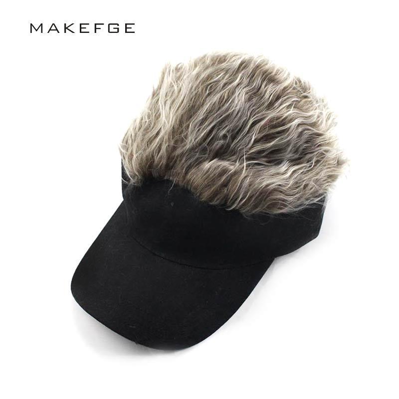 a93b4e0ccb4 2019 Wholesale Wig Hat Novelty Adjustable Visor With Spiked Hair Joke Gag Visor  Hat Cap Party Man Snapback Caps Hip Hop 2017 From Emmanue