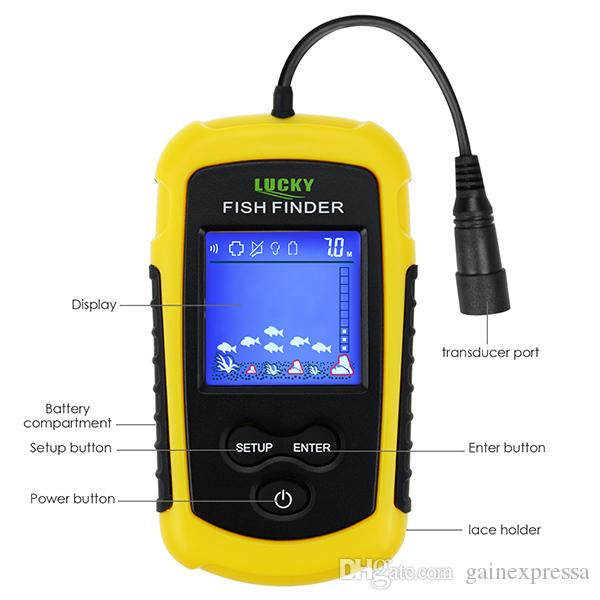 FFC-1108-1 Portable Fish Finder Sonar, TN/ Anti-UV LCD Display with Clear LED Backlight for Night Fishing, Wired Fishfinder with Alarm