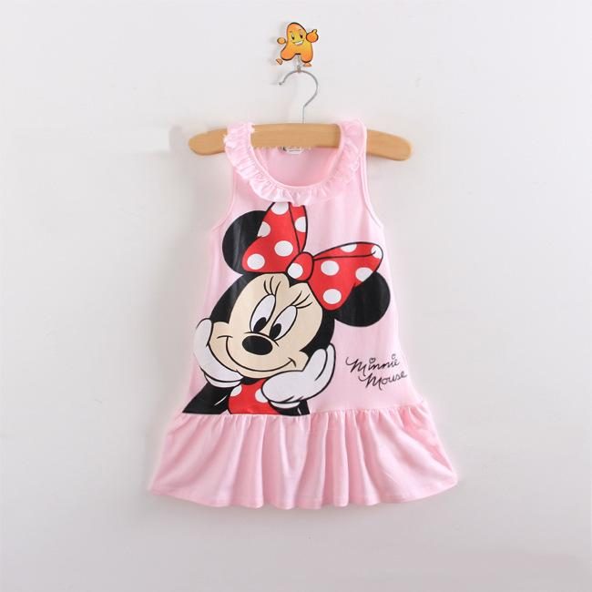 UNIKIDS Unkids New Kids girls clothes cute cartoon Dress, of red and pink nice Clothes, lovely baby girls dress