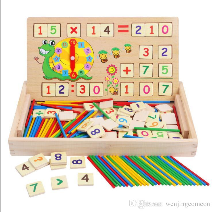 Wooden Math Toys Baby Educational Clock Cognition Math Toy with Blackboard Chalks Children Wooden Educative Toys