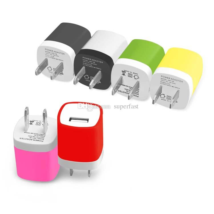 NOKOKO Wall charger Travel Adapter For iPhone X Galaxy S8 Plus 5V/1A Colorful US EU Ports Mini Home Power Adapter without Package