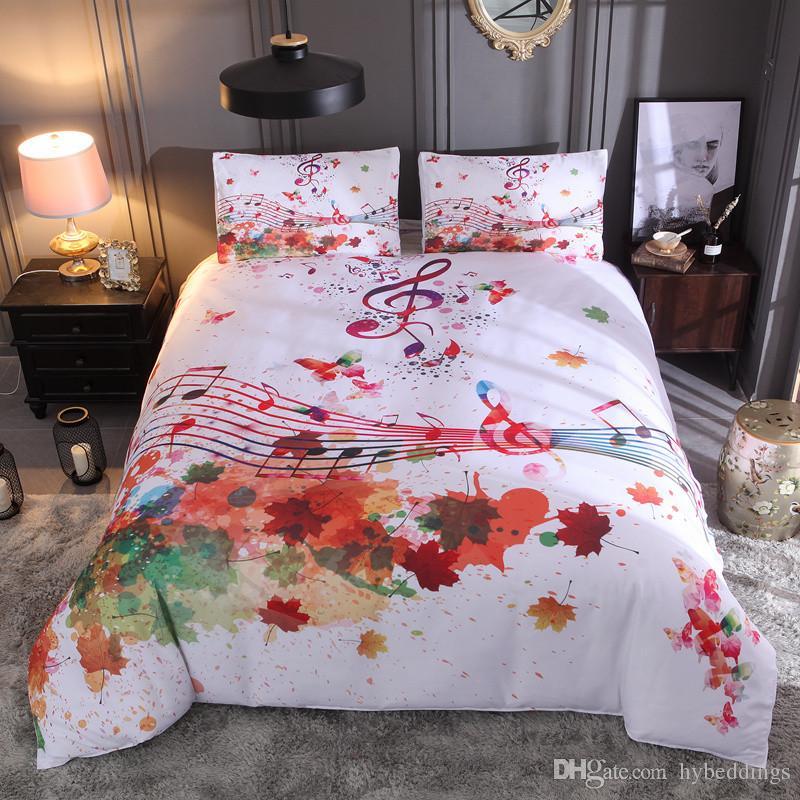 Großhandel Nordic Art Bett Set Ahornblätter Noten Bettbezug