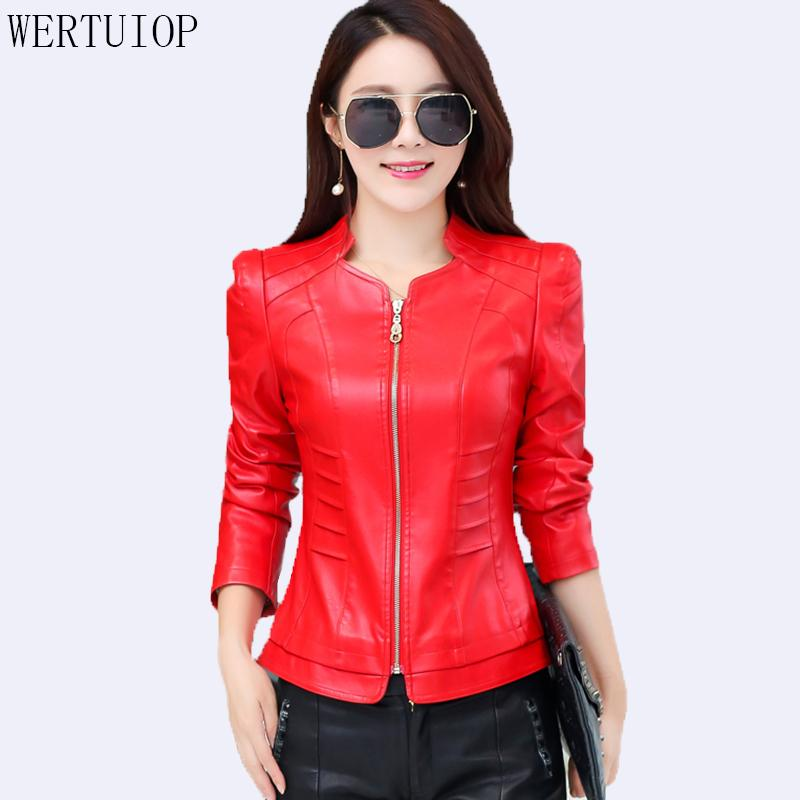 1846c68ed56 2019 Fashion Women Leather Coat Plus Size Leather Jacket Women 2018 New  Spring Autumn Short Slim Motorcycle Clothing Female Outerwear From  Bclothes001