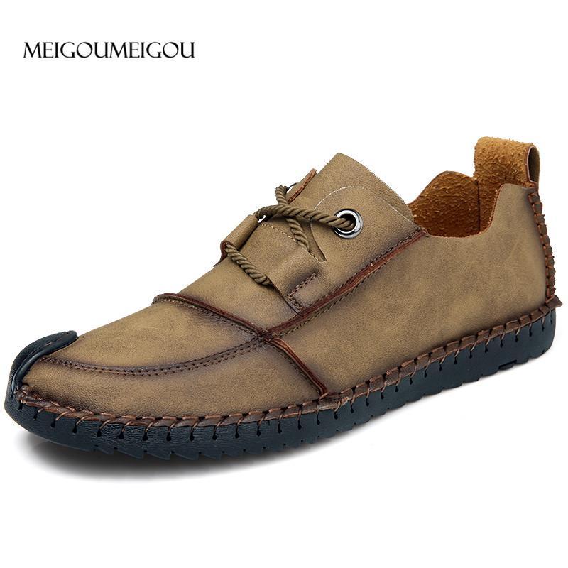 6f8ebbec2f6a63 Acheter Meigoumeigou Nouveau 2018 Durable Hommes Oxford Chaussures En Plein  Air Étanche Marche En Cuir Chaussures Hommes En Cuir Véritable De $39.13 Du  ...