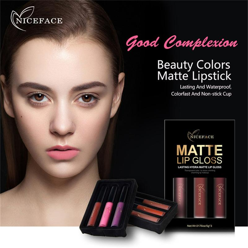 NICEFACE Brand 3 Colors/Set Liquid Lipsticks Make Up Pigments Sexy Red Purple Velvet Matte Lip Gloss Makeup Kit 1224051