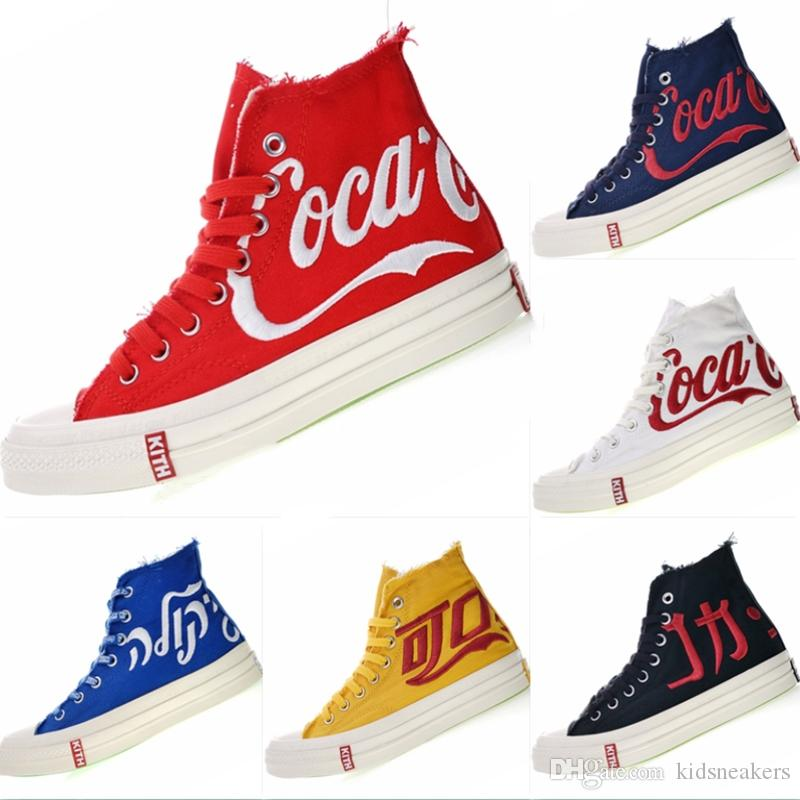 03d6e1ff356d With Box 2018 Three Party Consortium KITH Coca 1970s Cola High Top Canvas Sneakers  Classic 1970s Cola Crystal Sole Casual Athletic Shoes Sport Shoes Girls ...
