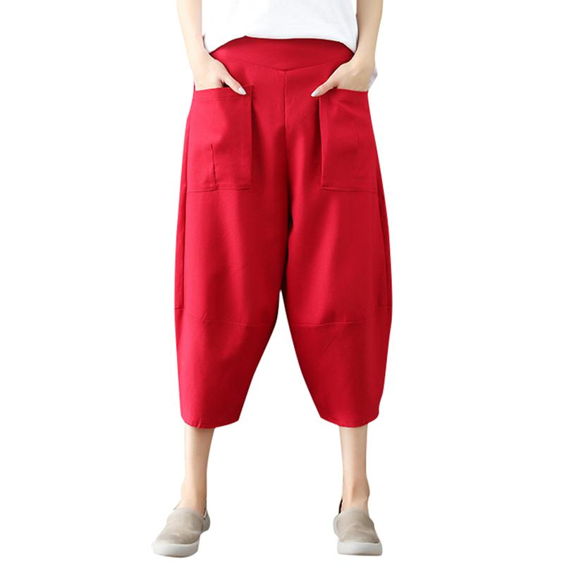 c362a62e07 Ethnic Women Harem Pants Solild Color Elastic Waist Pockets Wide Baggy Loose  Legs Pants Korean Style Casual Tapered Trousers Online with $47.0/Piece on  ...