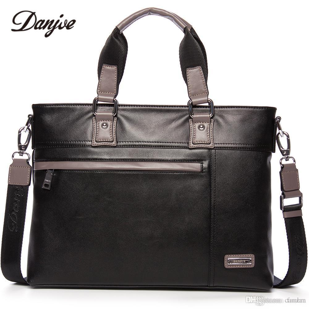 aa406c70af9e DANJUE Men Bag Genuine Leather Business Bag Vintage Handbag Men Real  Leather Male Briefcase Fashion Men's Laptop 14