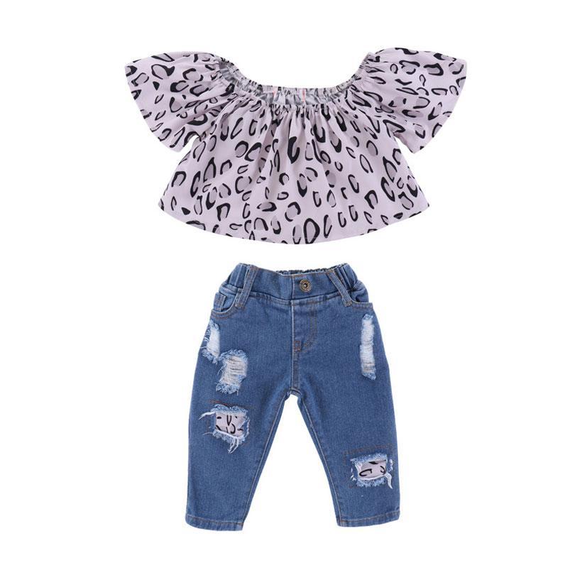f1b95af79 2018 Summer Infant Baby Girl Clothes Set Girls Toddler Clothing Kids Off  Shoulder Tops+Denim Pants 2pcs Outfit For Girls 1-5Y