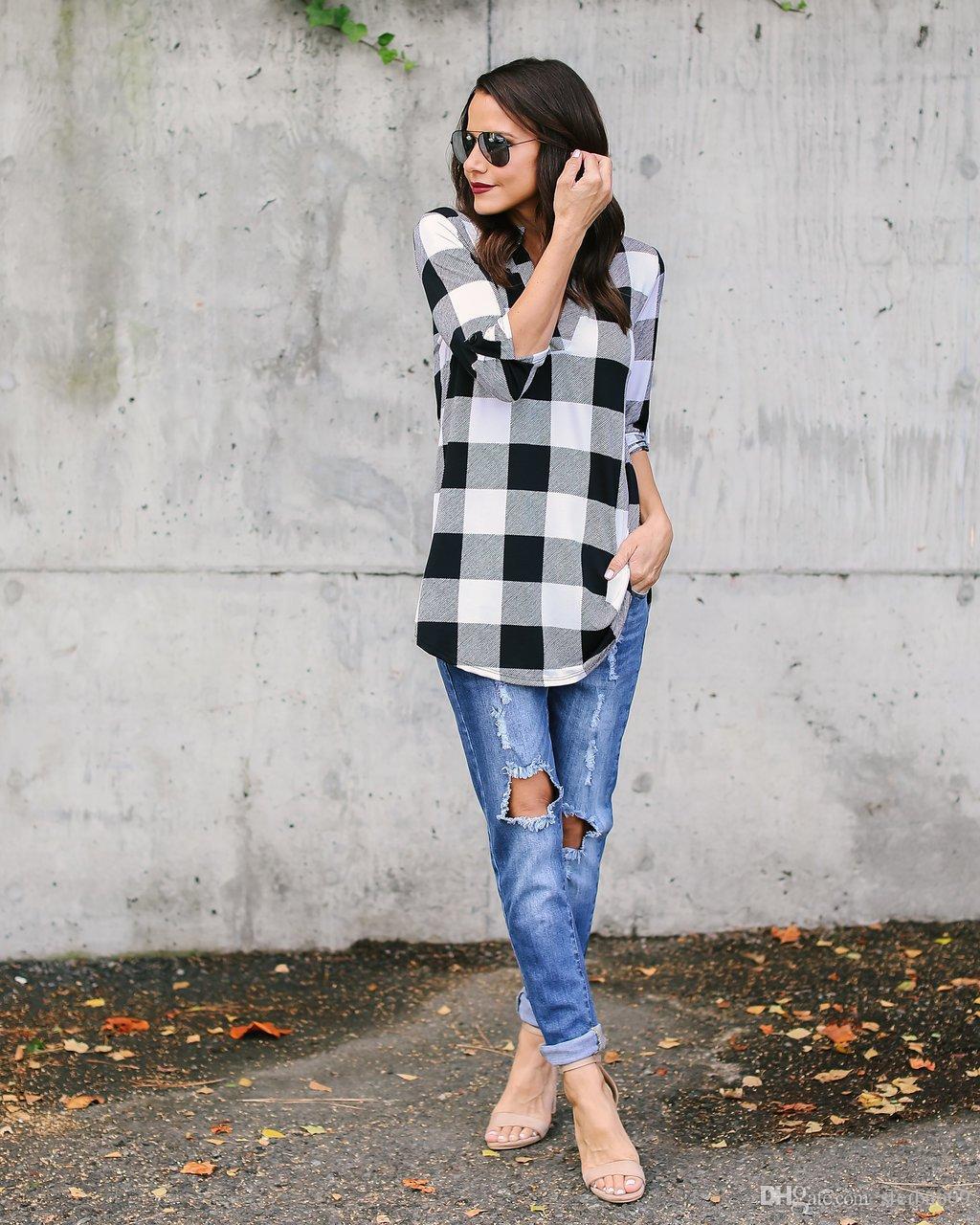 Frauen Plaid Shirts Plus Größe S-5XL Beiläufige Bluse V-Ausschnitt Falten Plissee Lose Einreiher Europäischen Halben Hülse Mode Tops