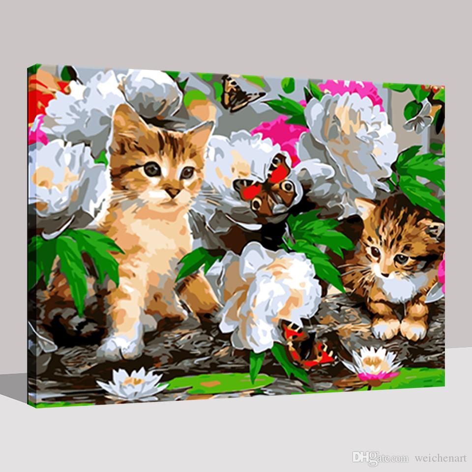 DIY Digital Canvas Pictures Wall Art Cats Tease Butterfly In The Flowers Oil Painting By Number HandPainted Home Decor Framework