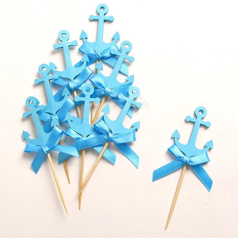 Personalizado Arco Azul ancla náutica Cupcake Toppers Baby Shower / Fiesta de cumpleaños de niño Favores Decoración Decoraciones para pasteles Selecciones