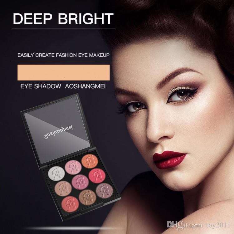 NEW AOSHANGMEI fosco paleta da sombra de olho 9 cores paleta da sombra de beleza maquiagem rosa paleta de nove cores sombra de sombra do café