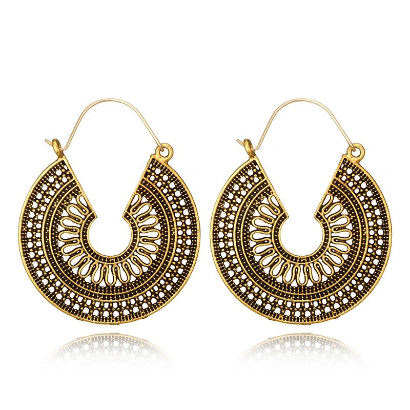 608358c944076 Tocona Vintage Antique Gold Silver Black Hollow Flower Metal Hoop Earrings  Punk Alloy Earring Brincos for Women Jewelry 5673