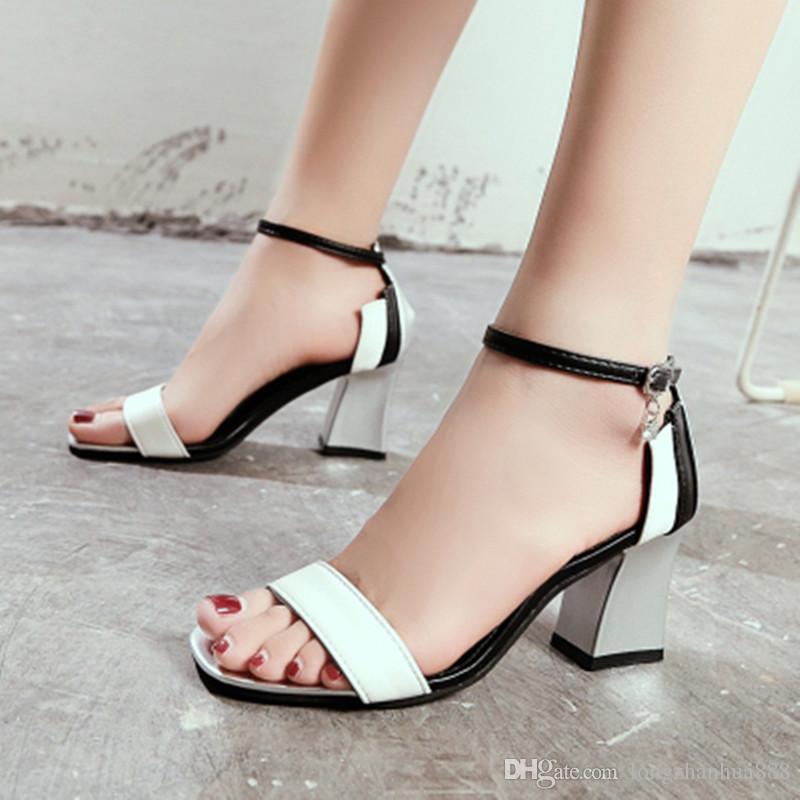 Verano Chaussure Alto Moda 2018 De Zapatos Sandalias Mujer Boca Baja Femme Tacón mv8N0nwO