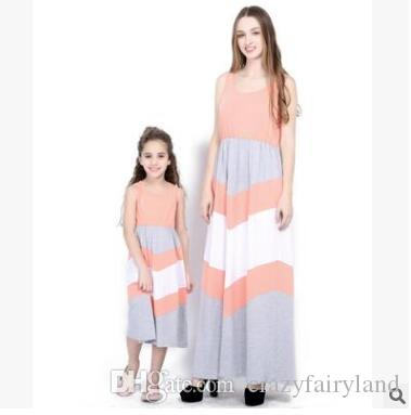 5e8ad8db828 Plus Size Mother And Daughter Matching Maxi Dresses Summer Sleeveless  Striped Patchwork Vest Dress Mother Daughter Clothes Family Clothing Matching  Mom And ...