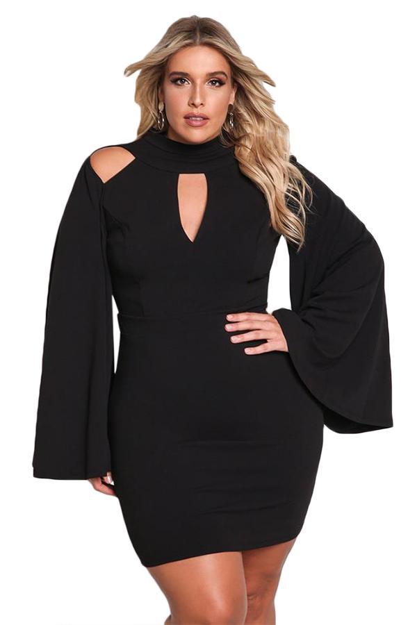 906a9ba2f11 Plus Size Bell Sleeve Bodycon 3xl Dresses Women 2018 Black White Spring Long  Sleeve Party Mini Dress Turtleneck Summer Dress Boutique Gold Summer Dresses  ...