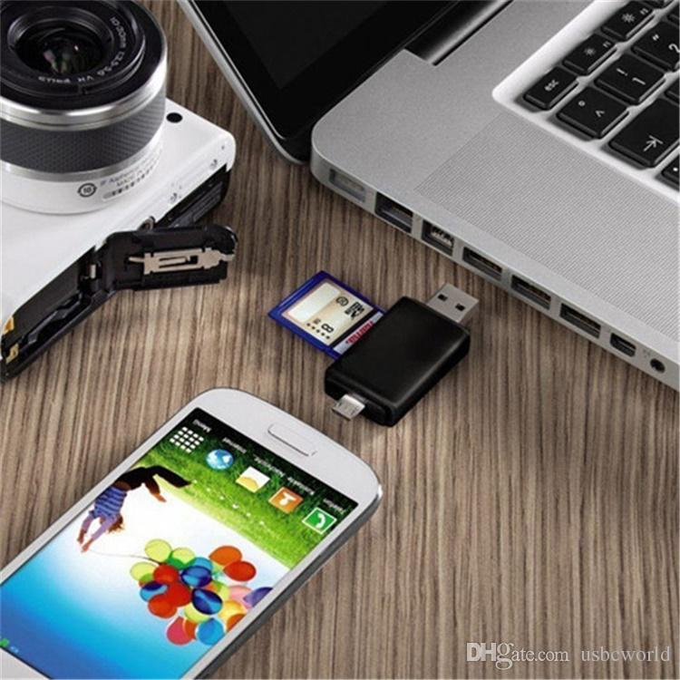 Multifunktionaler OTG-Kartenleser Micro SD-Karte USB-Leser Super Speed USB 2.0 HUB mit Multi-in-1 2-Slot-Kartenleser