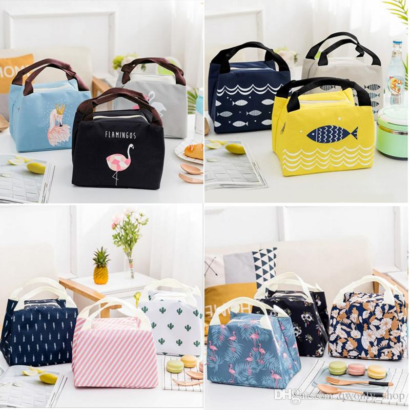 94a14c0069f1 2019 New Portable Cartoon Cute Lunch Bag Insulated Cold Canvas Picnic Totes  Carry Case For Kids Women Thermal Bag 14styles From Qwonly shop