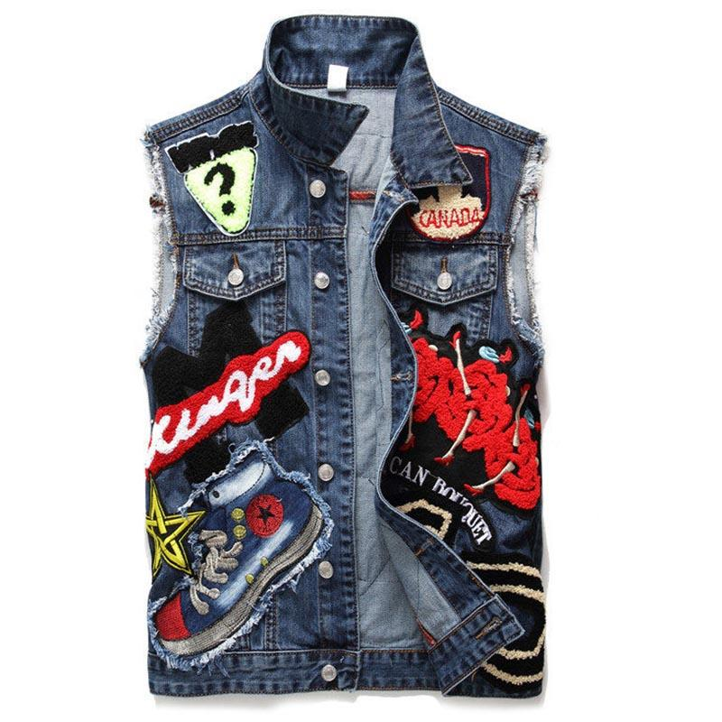 e670c6f78fc73 2019 Newsosoo Fashion Mens Denim Vest With Embroidery Patchwork Slim Fit  Jeans Waistcoat Male Sleeves Jeans Jacket Plus Size M 3XL From Beatricl