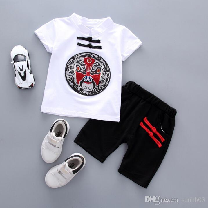2018 Summer China Style Baby Boys Clothes Suit Embroidery Kids Cotton T-shirt + Shorts Boy Set Children Outfits 13964