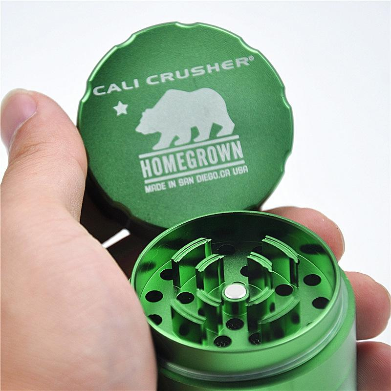 Newest Cali Colorful Grinder Crusher Herb Diameter 53MM Aluminum Alloy High Quality Easy To Remove 4-Layer Smoking Pipe Accessorie DHL Free