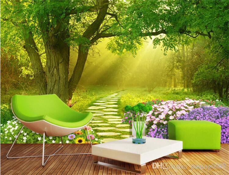 3d Modern Simple Green Tree Wall Painting Wallpaper Bedroom Tv