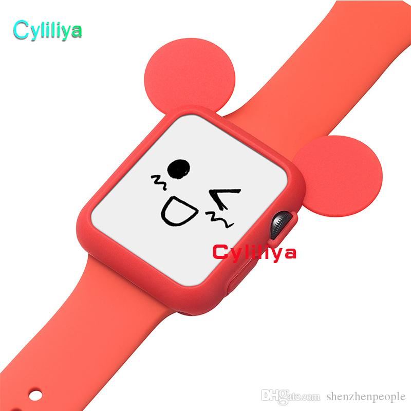 Soft Mouse Rabbit Silicone Case cover For Apple smart watch Soft TPU protective cases Shell Mix
