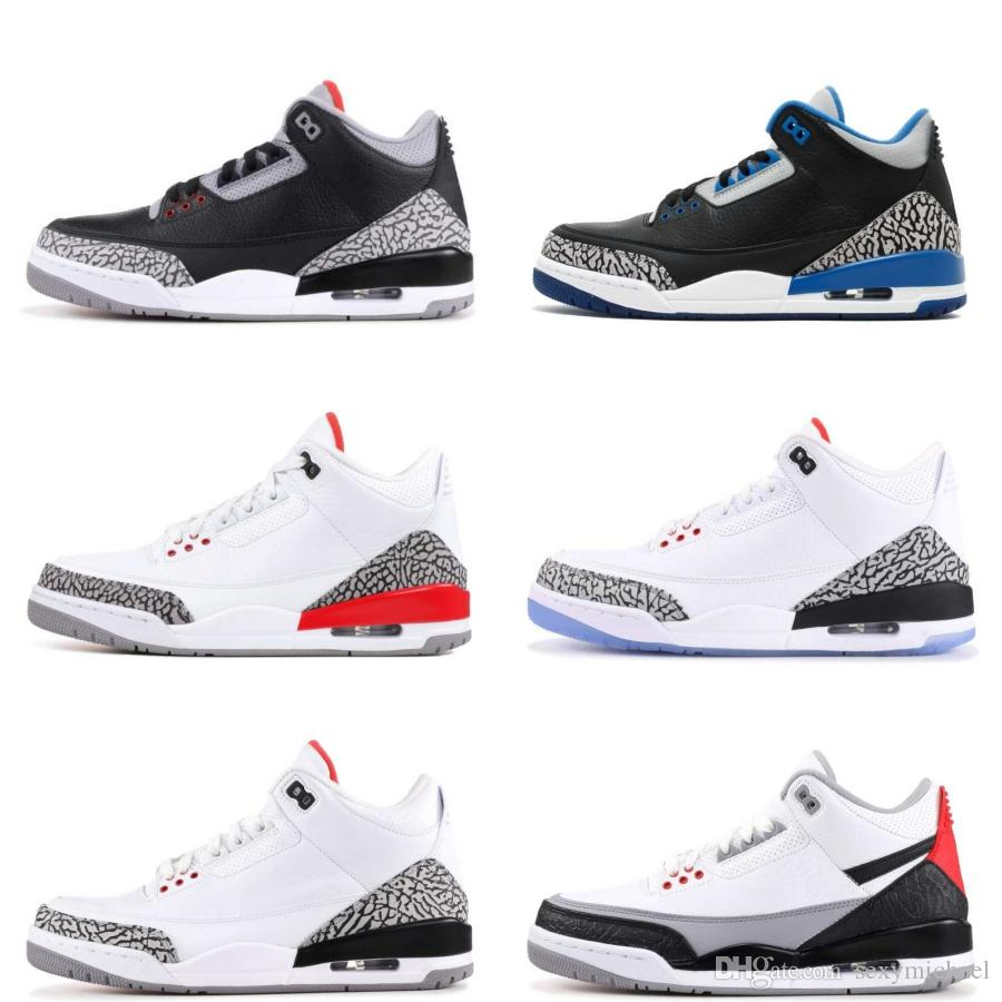 a3de4050b85 Black White Cement Three Basketball Shoes Tinker Sport Blue Wolf Grey  Hurricane Red New 2018 Sneakers Mens Trainers Michael Sports White Cement  Black Cement ...