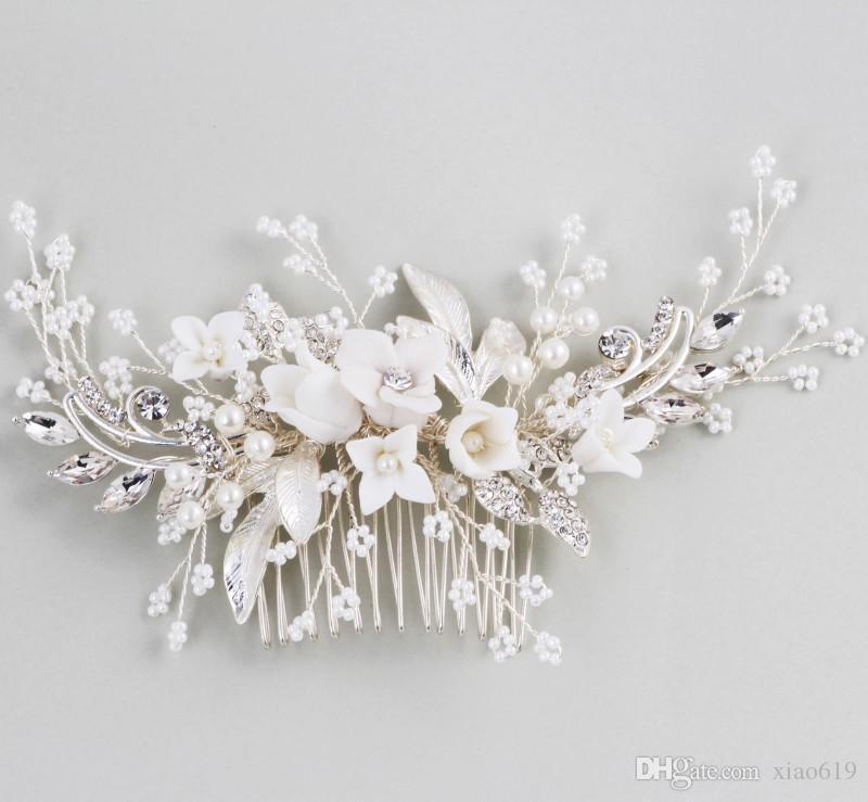 Nuovo design da sposa fiore copricapo capelli pettine perle da sposa Prom accessori capelli gioielli fatti a mano donne Hairwear